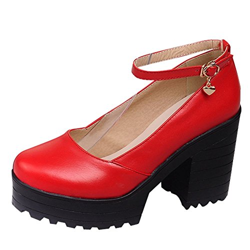 Mee Shoes Damen Chunky Heels Ankle Strap Plateau Pumps Rot