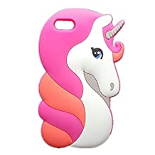 Cute 3D Cartoon Unicorn Case for iPhone 5 5S SE,Three Cray Soft Silicone Rubber Horse Young Horse Handsome Horse Silicone Phone Case for iPhone5/5s/SE