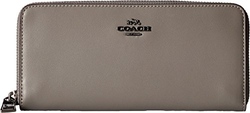 COACH Women's Slim Accordion Zip Wallet in Smooth Leather Dk/Heather Grey One Size by Coach