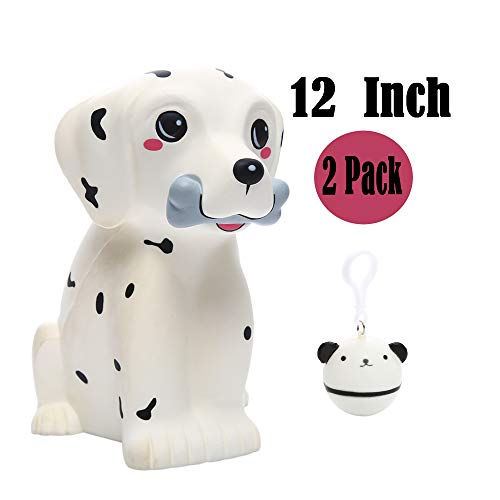 Sinofun 12 Inch Giant Dalmatian Dog Squishy, Large Puppy Animal Scented Squishies Package, Cute Panda Slow Rising Keychain, Soft Stress Relief Toys, Fun Party Favor/Birthday Gifts for Boys/Girls/Kids
