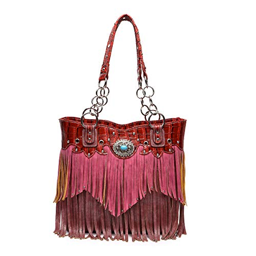 Bag burgundy Fringe Handbag Western Purple Tote Bag fYAxBwnqt