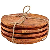 Kaizen Casa Round Acacia Wood Serving Charger Plates, 7 Inch Set of 4