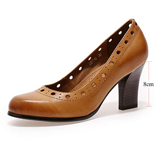 (Mona flying Womens Leather Pumps Dress Shoes Med Heel Rounded Toe High Heels for Women Office Wedding)