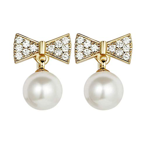 - XBKPLO Earrings for Women's Fashion Vintage Concise White Pearl Diamond Bow Earrings Stud Earrings Lady Jewelry Gifts