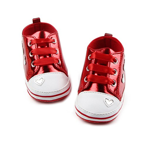 Antheron Baby Shoes - Infant Boys Girls Anti-Slip Sneakers Soft Sole Toddler First Walker Crib Shoes(Red,6-12 Months)