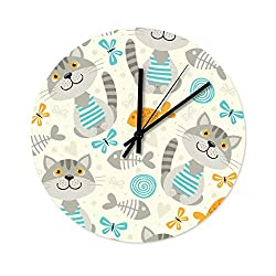 Peceeta Cat 12 Inches Round Wooden Decorative Wall Clock Universal Colorful Decorative for Kitchen Living Room Bedroom White 12x12 inch