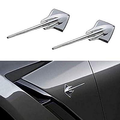 Bearfire 2pcs Corvette Stingray Mako Shark Fender Emblem Badge 3D Decal for Corvette Chrome (Stingray emblem Chrome): Automotive
