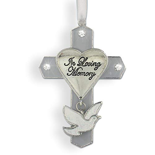BANBERRY DESIGNS In Loving Memory Cross Jeweled Hanging Sympathy Ornament with Dove Charm 3