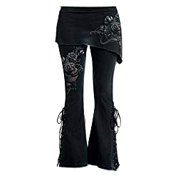 Sunmoot Plus Size Women Black Embroidered Casual Bandage Punk Lace Up Bell Bottom Wide Leg Jeans