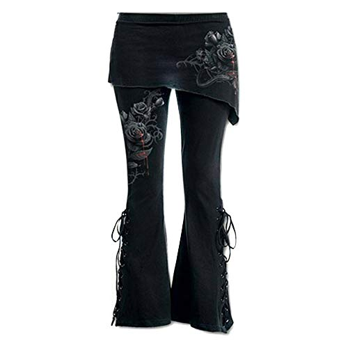 Women Black Embroidered Casual Bandage Flares Punk Lace Up Bell Bottom Leggings
