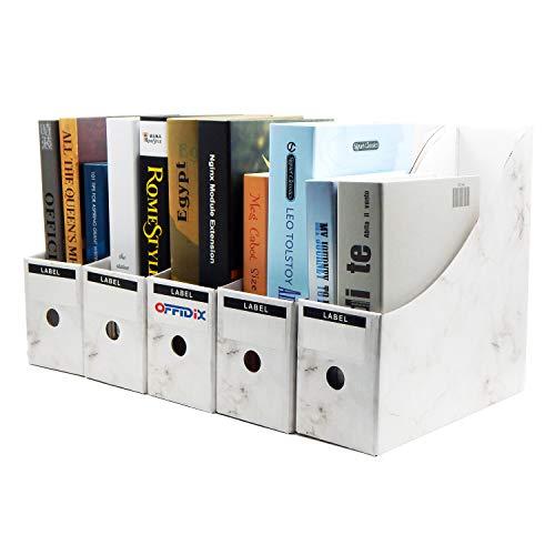 OFFIDIX Office 5 niveles Kraft Paper Desktop Storage Box Organizador de papel de documentos A4 para Home Office DIY Contenedor de papel Student Box de almacenamiento de archivos (blanco)