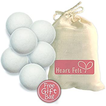 Heart Felt Wool Dryer Balls (6 Pack XL) Pure New Zealand Wool, No Cheap Fillers, Natural Reusable Non-Toxic Fabric Softener, Reduces Drying Time