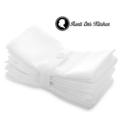 Aunti Em's Kitchen White Cotton Napkins Cloth 20 x 20 Oversized 100% Natural Bulk Linens for Dinner, Events, Weddings by, Set of ()