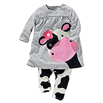 Hot Sale! baby girl clothes baby girls two pieces set cotton cartoon cow girls full sleeved+ pants children's suit (4-6 Months, Gray)