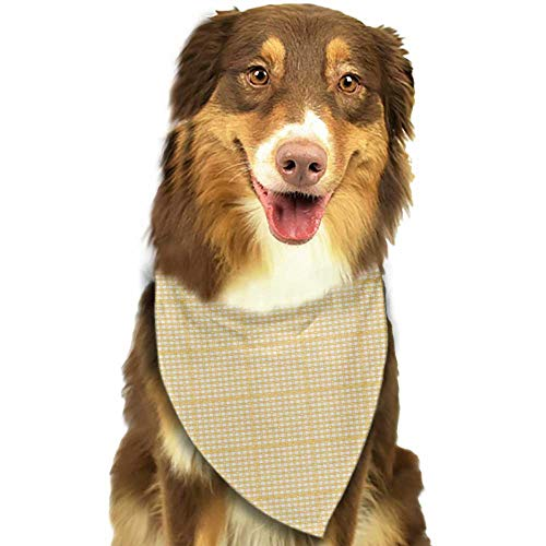 Creative Family pet Scarf Vintage Yellow Gingham Pattern with Bicolor Checkered Squares with Heart Motifs W27.5 xL12 Scarf for Small and Medium Dogs and Cats