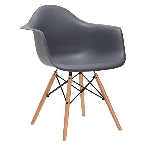 Poly and Bark Vortex Arm Chair with Natural Legs in Grey