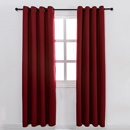 Drapes Silk Plaid (MANGATA CASA Bedroom Blackout Curtains Grommets 2 Panels,Thermal Window Curtain Drapes for Living Room(Wine RED, 52x84inch))