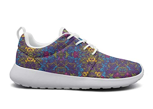(VXCVF Blue Rose Chrysanthemum Wisteria Rose Garden White Womens Tennis Shoes Breathable and Lightweight Cool)