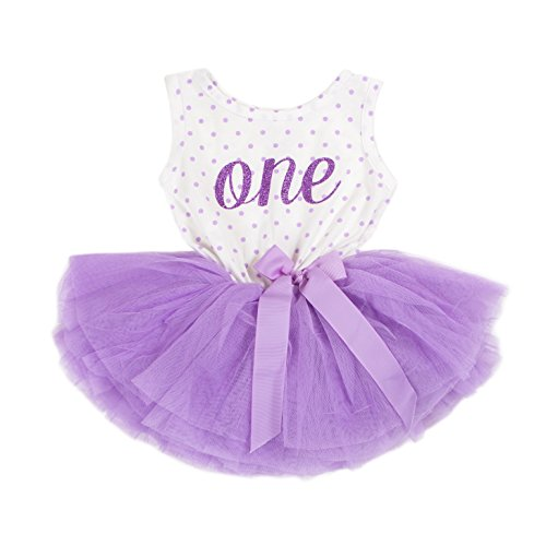 Grace & Lucille Purple Polka Dot Sleeveless Baby Birthday Dress (Purple, 6-12...