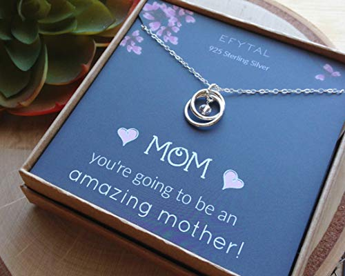 EFYTAL Baby Shower Gift, Sterling Silver Pregnancy Necklace for Expecting New Mom, Pregnant Mother To Be Jewelry by EFYTAL (Image #5)