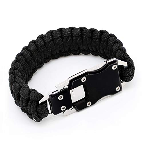 Paracord Woven Bracelet-10.6 in with Stainless Steel Knife Blade & Durable Cord. Self Defense Gear & Survival Kit for Hiking, Camping. Useful Handy Tool in Daily Life. (Black)