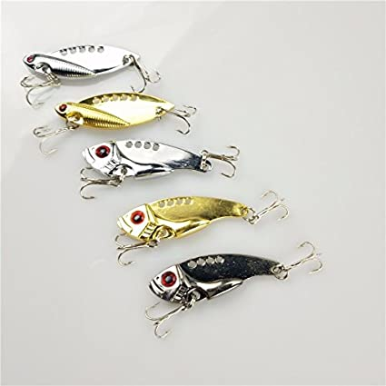 Hard Baits - Shad Fishing Lures - Spoon Lure - Flutter Spoon - Salmon Bait  - 1pcs 5cm 11g Metal Fishing Lures sliver gold brown color Bass Crank Bait