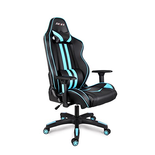 41bmeVLNLlL - Jamswin-Gaming-Chair-Ergonomic-Large-Size-High-Back-Adjustable-PU-Leather-Video-Game-Chairs-Blue