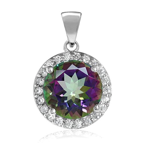 3.21ct. 9MM Round Shape Mystic Fire Topaz White Gold Plated 925 Sterling Silver Halo Pendant