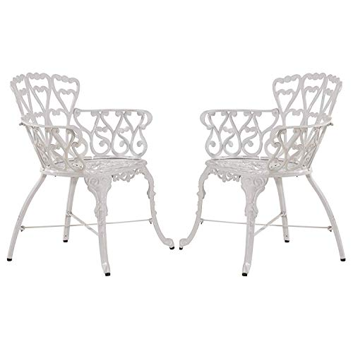 Antique Victorian Cast Aluminum Patio Dining Chairs – Outdoor Set of 2