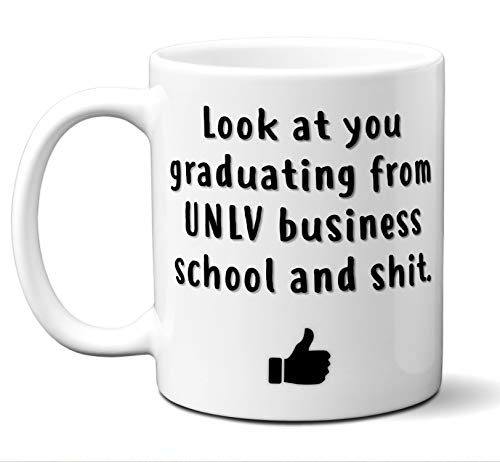 (UNLV Business School Graduation Gift Coffee Mug Cup. Student Grad Idea BBA BBM Commerce Management Administration Graduates Women Men Him Her Class. Funny Congratulations.)