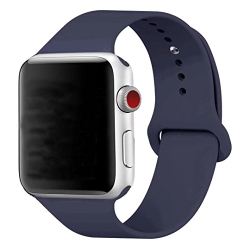 Band for Apple Watch 38mm, Guangzhi New Design (Metal Tuck Clasp Ouside/Correct Wearing Way in 4th Image) Soft Silicone Sport Strap Band for iWatch Series 1 / 2 / 3, Sport, Edition,38mm,Midnight Blue
