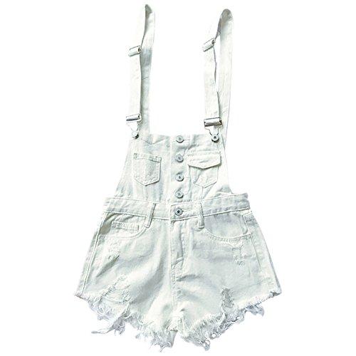 禁止する事実試みCozy Maker(C&M)サロペット デニム ショートパンツ レディース オーバーオール オールインワン ジーパン ジーンズ ボトムス パンツ ポケット付き シンプル かわいい ゆったり ファッション 短パン ダメージ加工