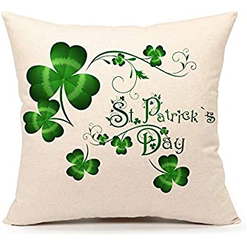 YOUR SMILE St Patricks Day Clover Cotton Linen Square Decorative Throw Pillow Case Cushion Cover 18x18 Inch