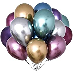 Fayoo Metallic Chrome Balloons, 12'' Assorted Latex Balloons for Party Decorations, Birthdays, Bridal Shower, Valentine's Day, Graduation 42PCS