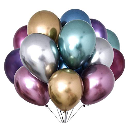 Fayoo Metallic Party Balloons, 12 Assorted Latex Balloons for Party Decorations, Birthdays, Bridal Shower, Valentines Day, Graduation 42PCS