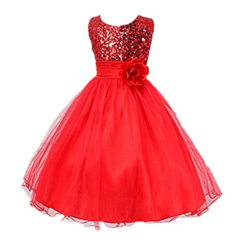 DreamHigh Sequined Flower Girls Party Dress (10, Red) (Red Dresses For Little Girls)