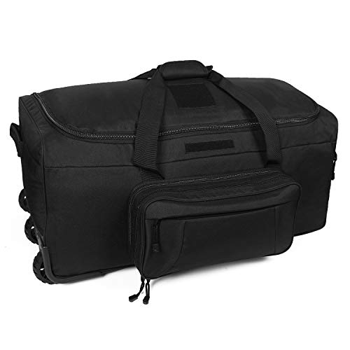 (XWLSPORT Military Wheeled Deployment Bag Tactical Camo Heavy Duty Duffel Bag Water-Resistant Luggage Bag It's Suitable on Travelling, Camping, Business, Sporting Ect (Black))