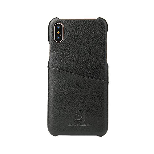 iPhone X Coated Leather Case with Slots for ID/bank cards, Perfect Slim Fit Back Cover by Simons of London with Gift Box, Enhance & Protect your Mobile today! (Classic Black) (Malls Christmas Simons)