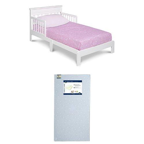 Delta Children Scottsdale Toddler Bed, White with Serta Perfect Start Crib and Toddler Mattress