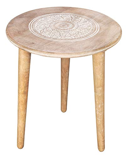 Wooden Table with 3 Legs Pillar, Coffee Table Wood, Modern Round Coffee Table, Side Table for Small Spaces, Entryway Table, Living Room Side Table for Magazines, Books, Plants-18x22 Inch White Wash