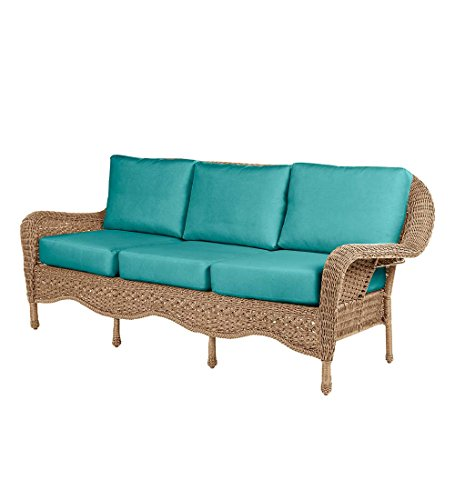 Prospect Hill Outdoor Patio Deep Seating Sofa Furniture – Includes Cushions – All Weather Woven Resin with Aluminum Frame – 84 W x 35 D x 36.5 H – Driftwood with Aqua Cushions