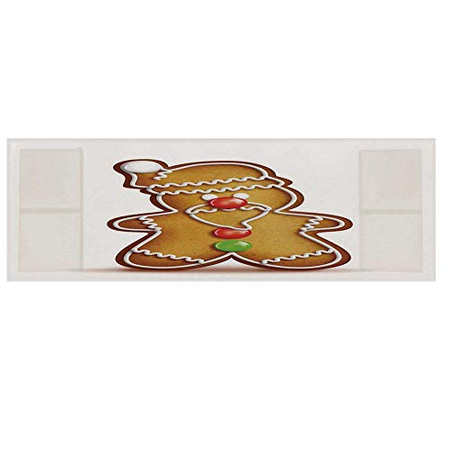 (Gingerbread Man Microwave Oven Cover with 2 Storage Bag,Whimsical Cartoon Santa Gingerbread Man with Bonbon Candies Decorative Cover for Kitchen,36