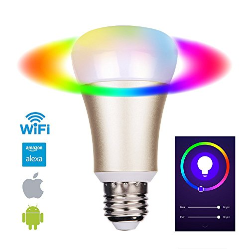 EOSAGA Smart LED Bulb WiFi, A19, Dimmable, 5W E27, Color Changing Light Bulb, Works with Amazon Alexa, Smartphone Free APP Control