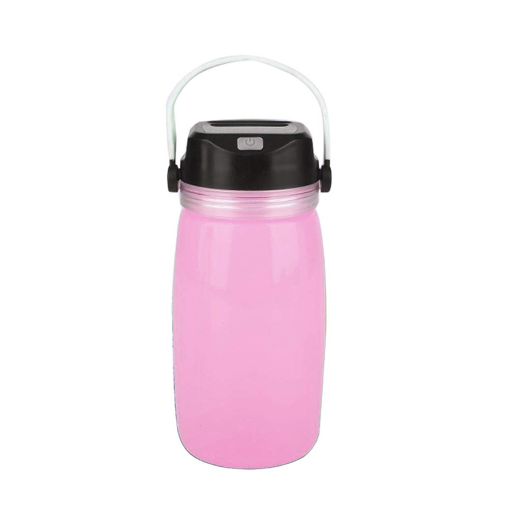 millet16zjh Creative Bottle Solar Charge Luminous Camping Travel Bike Sport Water Cup Pink