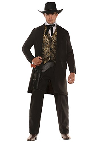 Gambler Costume (The Gambler Cowboy Adult Costume Black / Gold One Size)