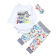 NUWFOR Toddler Infant Baby Girls Boys Letter Cartoon Dinosaur Romper Pants Clothing Set