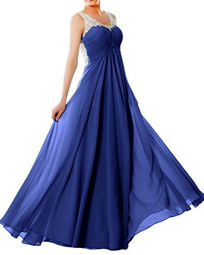 MACloth Women Straps V Neck Chiffon Lace Long Prom Dress Formal EveningBall Gown Royal Blue jZsNj61ACS