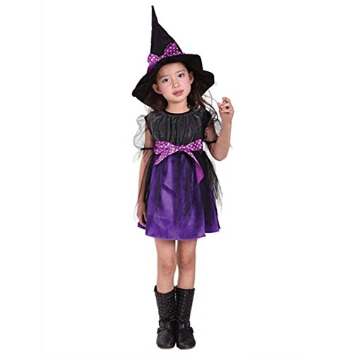 Clearance!!Toddler Bowknot Dress, Kids Baby Girls Halloween Clothes Costume Dress Party Dresses+Hat Outfit (Purple, 4-5T)