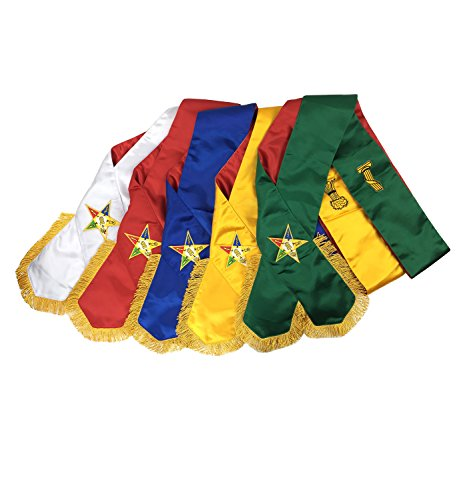 (Unique Regalia Masonic Order of Eastern Star OES complete Sash Set -Set of 5 sashes MS030)