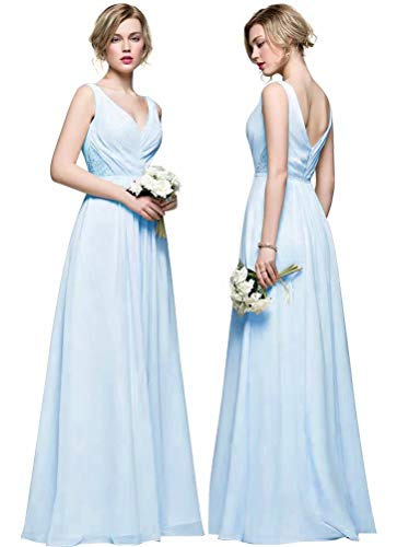 Chiffon V Royal Cocktail Neck Maxi Blue Dresses Prom AiniDress Off Shoulder Bridesmaid Evening Dresses UYY7qwd